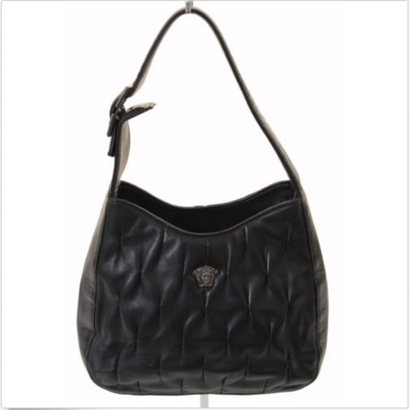 e05a7027 Versace Couture Black Lambskin Leather Evening Bag